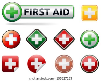 Various isolated first aid vector icons with banner and text on white background.
