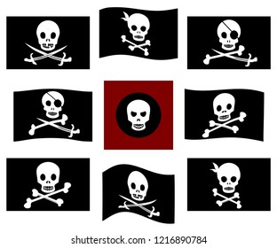 Various isolated pirate flags with skulls and bones. Jolly Roger flags set
