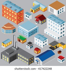 Various Isometric Buildings and Architecture Objects. Vector Set