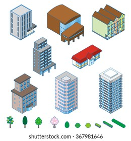 Various isometric buildings, trees and shrubs.