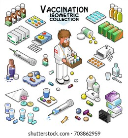 Various items for vaccination, including pills, drops, tablet, medicine vials, boxes, syringe and  a man selling medical items (isometric objects collections)
