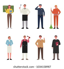 various jobs character. hand drawing style vector illustration flat design