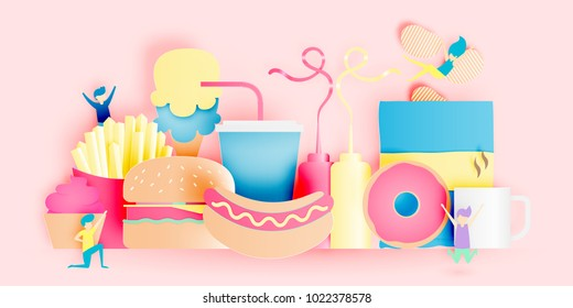 Various junk food in paper art style with pastel scheme vector illustration