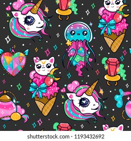 Various kawaii elements. Hand drawn colored vector seamless pattern. Black background
