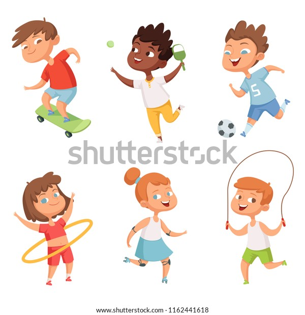 Various Kids Active Sports Vector Characters Stock Vector (Royalty