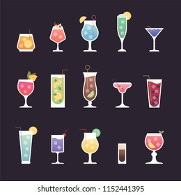 various kind of cocktail icons. flat design style vector graphic illustration set
