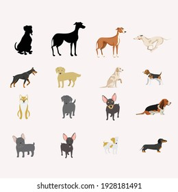 Various kind of dog is isolated. Vector Illustration.