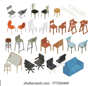 various kind of isometric chair set vector illustration flat design