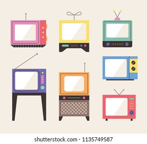 various kind of retro television. flat design style vector graphic illustration set