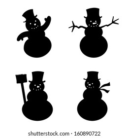 Various Kind of Snowman silhouette, vector illustration