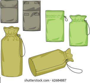 Various kinds of bags of the different form