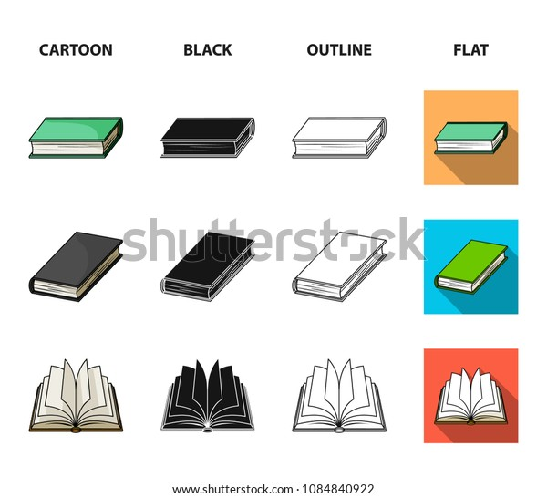 Various kinds of books. Books set collection icons in cartoon,black,outline,flat style vector symbol stock illustration web.