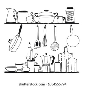 Various kitchen utensils for cooking, tools for food preparation or cookware standing on shelves and hanging on hooks on white background. Vector illustration hand drawn in monochrome colors.