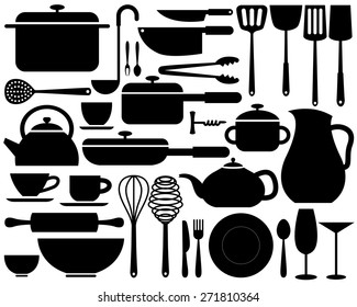 various kitchenware icon in silhouettes can be used for info graphics or website