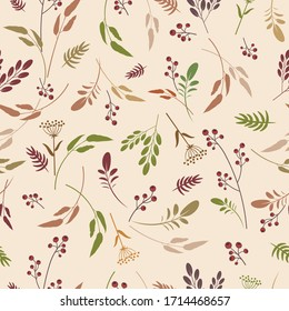 Various leafy elements seamless pattern