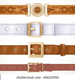 Various leather belts buttoned on buckles isolated on white background