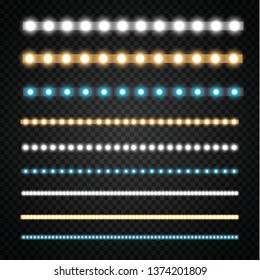 Various LED stripes on a black and transparent background, glowing LED garlands.