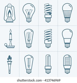 Various light bulb icons set. Vector illustration