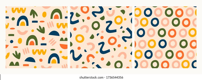 Various lines, dots and shapes. Rainbow shapes, curves, arcs, rings. Set of three Colorful abstract Seamless patternx. Backgrounds, wallpaper. Hand drawn Vector illustration. Pastel colors