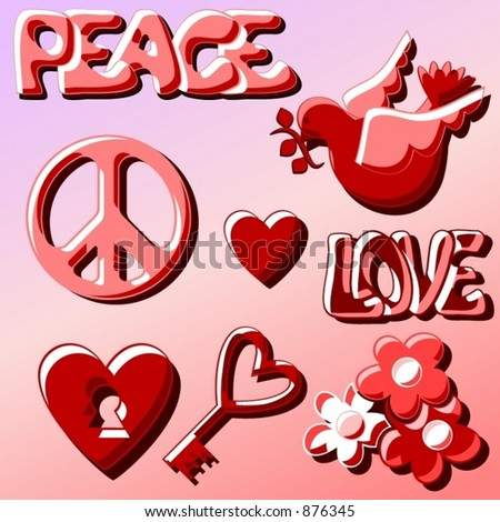 Various Love Peace Objects Ans Symbols Stock Vector Royalty Free