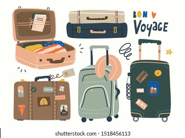 Various luggage bags, suitcases, neck pillow, baggage, travel bags. Vacation, holiday. Hand drawn vector set. Colorful trendy illustration. Cartoon style. Flat design. All elements are isolated
