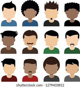Various male faces in flat design. Male faces in vector. Diversity icons of male faces. Various face form in flat design.