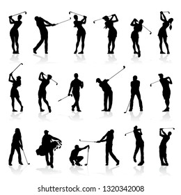 Various male and female golf poses in silhouettes