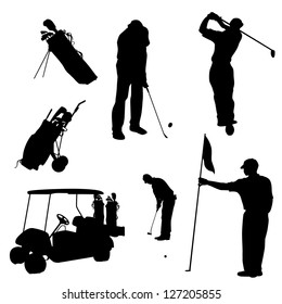 Various male golf poses in silhouettes
