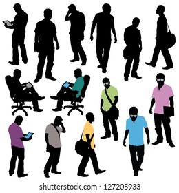 various male poses in silhouette. Doing tasks like talking on the phone, searching on tablet, walking, standing...