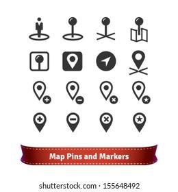 Various Map Pins Icon Set