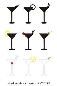 various martini glasses