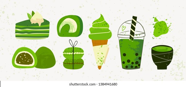 Various matcha tea products. Japanese food. Matcha powder, mochi, macarons, bubble tea, ice cream, pie. Hand drawn vector set. Colored trendy illustration. Flat design. All elements are isolated
