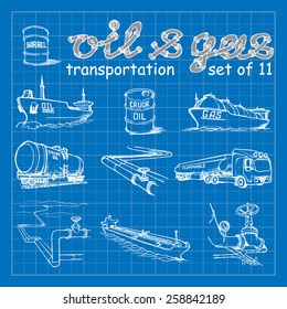 Various means of crude oil, natural gas and derivative products transportation. EPS10 set of 11 vector illustrations imitating blueprint style scribbling with white marker.