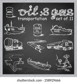 Various means of crude oil, natural gas and derivative products transportation. EPS10 set of 11 vector illustrations in a sketchy style imitating scribbling on the blackboard.