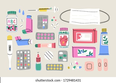 Various Medical equipment: Drugs, pills, capsules, inhaler, tube, spray, mask, patch, syringe, bottles. Medicine, pharmacy, hospital, drug store concept. Hand drawn Vector set. Isolated illustrations