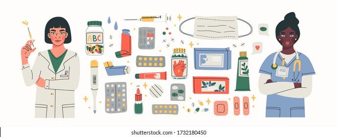 Various Medical equipment: Drugs, pills, capsules, inhaler, tube, spray, mask, patch, syringe, bottles. Female doctors. Medicine, pharmacy, hospital, drug store concept. Big Hand drawn Vector set