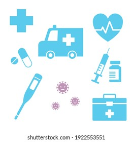 Various medical icons, first aid kit, ambulance, vaccine, virus