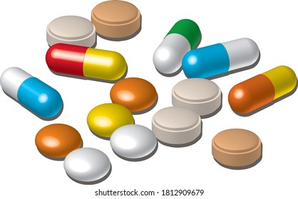 Various medicine capsules and tablets