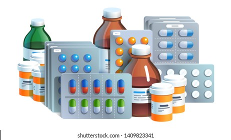Various meds. Pills, capsules blisters, glass bottles with liquid medicine & plastic tubes with caps. Drug medication & supplements collection. Realistic flat style vector object illustration