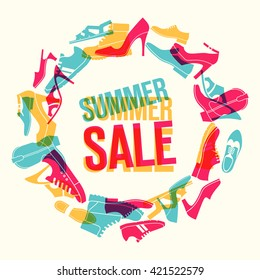 Various men's and women's shoes in the shape of a circle. Shoes sale, shopping. Vector color illustration.