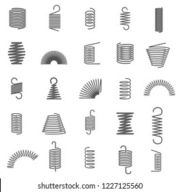 Various metal springs set, vector illustration. Black spring icons collection. Isolated over white background