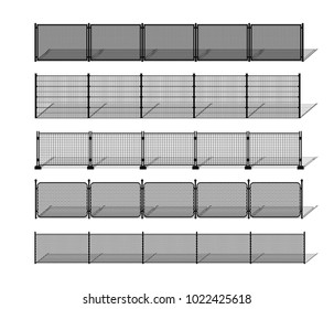 Various metal wire and chain-link fence silhouettes with shadows. Horizontally seamless modular metal mesh like fencing design elements. Vector pattern brushes with ending tiles included.