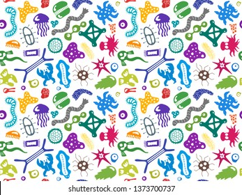 Various microorganisms seamless pattern. Backdrop with infectious germs, protists, microbes, disease causing bacteria, viruses. Biodiversity plankton. Colorful vector illustration for wallpaper