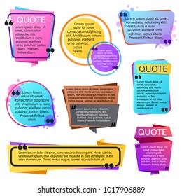 Various modern quote shapes vector set. Illustration of bubble speech with text message information