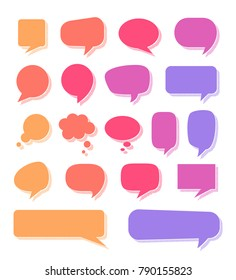Various multicolored speech bubbles set. Blue, purple, red, orange, yellow text boxes. Vector illustration