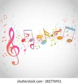 Various music notes on stave, vector illustration