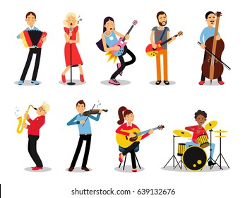 Various musicians, characters in flat style vector illustration