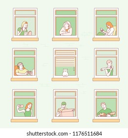 Various neighbors are seen through windows. hand drawn style vector design illustrations.