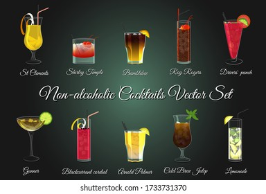 Various non-alcoholic cocktails vector set