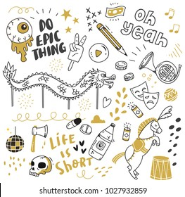 Various object in doodle style, cute hand drawn background